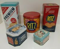 (lot 5) collectible tin can Nabisco Ritz Crackers Uneeda Biscuit Saltine