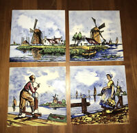 Vintage Delft Tiles Lot Of 4 Amazing colors •• water scene smoking pipe