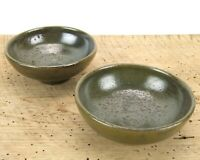Jugtown Ware North Carolina Pottery Green Frog Skin Glaze Bowls Set of 2 Signed