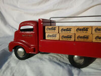 Coca Cola 1940#x27;s Smith Miller quot;Smittyquot; Red Delivery Truck Metal amp; Wood *Rare*