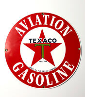 Texaco Aviation Gasoline Sign HeavyPorcelain On Steel Ande Rooney Reproduction