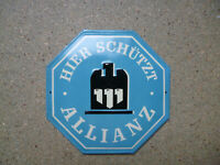 Hier Protects Allianz Orginal Old Tin Sign 1950er Years