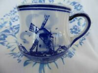 Vintage Delft Blue White Mug Cup Hand Painted Holland Windmill DALC