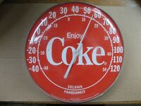 Vintage 1980#x27;s Coca Cola Thermometer 12quot; Round quot;Enjoy Cokequot; Rounded Bubble