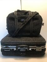 Vintage 60s Skyway Black Tweed Grey Accents Carry On Suitcase Wheels Lock Combo