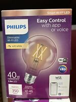Philips Smart Bulb G25 LED 40W Dimmable Wi Fi Wiz Connected Light $9.95