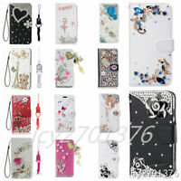 Fashion Fancy Rhinestone Wallet Flip Leather Case Cover For Samsung with Lanyard $9.98
