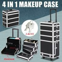 Rolling 4 in 1 Aluminum Makeup Case Beauty Cosmetic Organizer Box Trolley