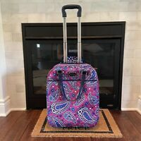 """Retired Vera Bradley Purple Paisley Luggage Rolling Suitcase Carry On 18"""""""