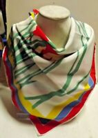 Vintage VERA 27quot; Square Polyester Scarf Red Blue Yellow Iris Flowers on White