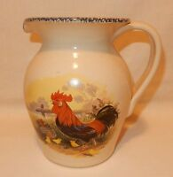 Casey Pottery Stoneware Pitcher large 8 inch tall Rooster Hen Chicks Chiken