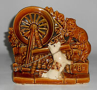 McCoy Art Pottery Dog & Cat Spinning Wheel Planter