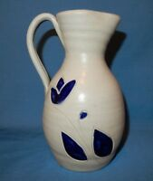 Vintage Williamsburg Virginia Pottery Salt Glaze 7.25 Pitcher White Cobalt Blue