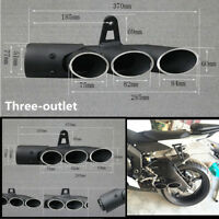 Motorcycle Modified Three-outlet Exhaust Pipe Tail Tip Scooter ATV Street Bike