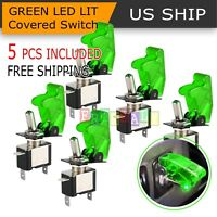 5PCS Green Cover LED Toggle Switch Racing SPST ON OFF 20A ATV 12V for Car Truck