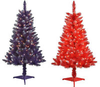 4FT Pre-Lit 150 Clear Light Artificial Christmas Tree 48inch PURPLE RED