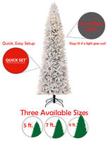 Home Heritage Anson Flocked 5 ft. - 9 ft. Quick Set Pre Lit Christmas Tree