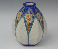 EMAUX DE LONGWY FRANCE FAIENCE MAJOLICA VASE CRACKLE GLAZE ANTIQUE 1890-1930's