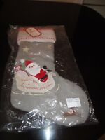 NWT Pottery Barn Kids Christmas Stocking Quilted Santa Sleigh Gray NEW