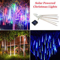 Solar Powered Meteor Shower Rain Drop Icicle Lights String For Outdoor Christmas