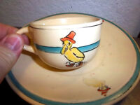 Vintage 1916-1930 Roseville Juvenile ceramic Cup & saucer, Colorful Duck w hat