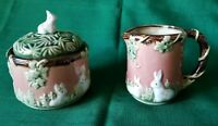 Vintage 1991 CBK Ltd Nouveau Majolica Sugar Bowl Creamer Pitcher Rabbits and Ivy