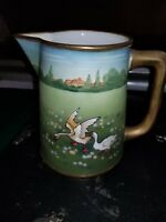Rare Hand Painted Nippon Milk Pitcher With Geese