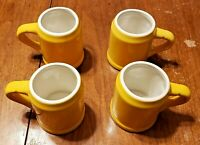 VTG SET OF 4 1950'S MID CENTURY HALL POTTERY MUGS GOLD YELLOW GLAZE 586