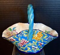 Lovely Longwy Pottery Basket With Flowers