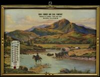 BUDA ILLINOIS LUMBER COAL COMPANY 1947 CALENDAR THERMOMETER ADVERTISING OLD WEST