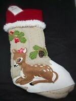 Pottery Barn Kids Holiday Girl Deer Fawn Woodland Quilted Stocking 15
