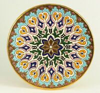 Vintage EXQUISITE Longwy Manner Spanish Hand Enameled Earthenware Wall Plate 8+