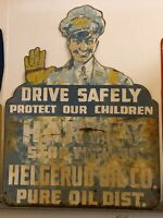 Vintage ORIGINAL PURE OIL SCHOOL SAFETY Sign OLD GAS 4' TALL Station Atendant