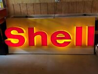 LARGE ORIGINAL Vintage SHELL Lighted SIGN Gas Oil OLD Station Car Truck Garage