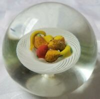 Murano or New England Glass Latticino Fruit Table Paperweight 3 1/4