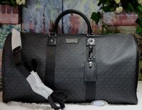NWT MICHAEL KORS MK Signature XL TRAVEL Duffel Bag In BLACK CANVASLeather $598
