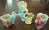 Lot 3 Vintage Shawnee USA Planters Chick Bird 502, Pixie 536 & Bonnet Girl 534