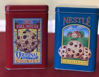 Lot of 2 Nestle Toll House Cookies Morsels Limited edition Tin Blue / Red Canist