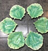 Vtg Antique Czech Tin Glaze Pottery Majolica Green Cabbage Leaf Bowls 6 1/2""