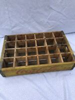 Vtg Coke Circa, Coca Cola 24 Bottle Wooden Crate Box Yellow Rustic Adv