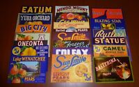 20 DIFF FRUIT BOX PEAR CRATE LABELS VINTAGE LOT ADVERTISING NOS 1930S - 1960S