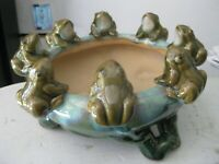 Japan POTTERY 8 FROGS  LILY PAD? BOWL/BAMBOO PLANTER majolica? vintage antique