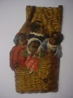RARE Vintage Die Cut MAGIC YEAST  Babies in Basket Trade Card Black Americana
