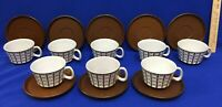 Ceramano Omega Cups amp; Saucers W Germany 110 Geometric White Brown 8 Sets 16 Pcs
