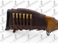 Leather Rifle Cartridge Holder Ammo Butt stock 6 Pockets.Made in EU. USA Sealer.