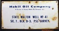Mobil Oil Company Gas Oil Field Well Lease Porcelain Sign