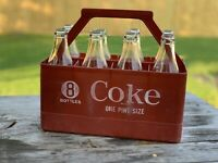 Vintage Coca Cola Coke Plastic 8 Bottle Crate Carrier with Glass Bottles 75th
