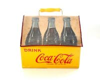 1940 Coca-Cola Yellow Wooden 6-Pack Case Bottle Carrier Canvas Cover Rare Repo