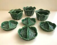 Set of 3 Vintage Secla Portugal Majolica Cabbage Leaf Soup Bowls w. Lids