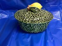 VINTAGE majolica covered serving bowl CABBAGE lettuce WARE vintage